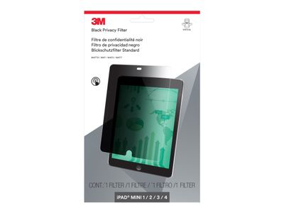 """3M personvernfilter for Apple iPad mini 1/2/3/4 stående - Skjermpersonvernfilter (portrett) - 7.9"""" - svart - for Apple iPad mini; iPad mini 2; 3; 4 (PFTAP003)"""