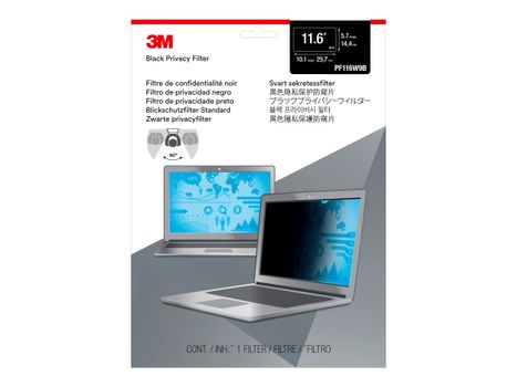 """3M personvernfilter for 11.6"""" Widescreen Laptop with COMPLY Attachment System notebookpersonvernsfilter (PF116W9B)"""