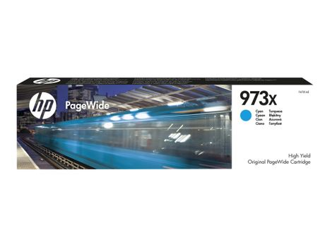 HP 973X - Høy ytelse - cyan - original - PageWide - blekkpatron - for PageWide Managed MFP P57750, P55250; PageWide Pro 452, 477 (F6T81AE)