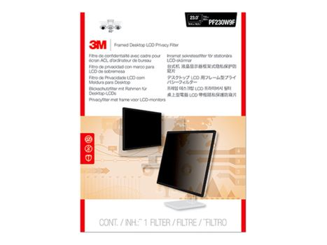 """3M personvernfilter med ramme for 23"""" Monitors 16:9 - personvernfilter for skjerm - 23"""" bredde (PF230W9F)"""
