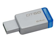 Kingston DataTraveler 50 - USB-flashstasjon - 64 GB - USB 3.1 - blå