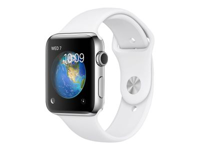 Apple Watch Series 2 - 42 mm - rustfritt stål - smartklokke med sportsbånd - fluorelastomer - hvit - band size 140-210 mm - S/M/L - Wi-Fi, Bluetooth - 52.4 g (MNPR2DH/A)