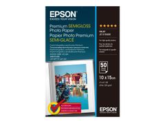 Epson Premium Semigloss Photo Paper - Halvblank - 100 x 150 mm - 251 g/m² - 50 ark fotopapir - for EcoTank ET-2756; Expression Home HD XP-15000; Expression Premium XP-540, 6000, 6005, 900