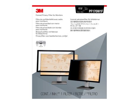 """3M personvernfilter med ramme for 17"""" widescreen (16:10) - personvernfilter for skjerm - 17"""" bredde (PF170W1F)"""