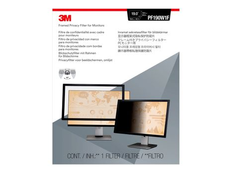 """3M personvernfilter med ramme for 19"""" widescreen (16:10) - personvernfilter for skjerm - 19"""" bredde (PF190W1F)"""