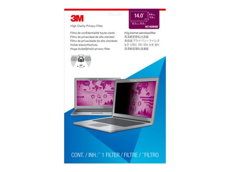 """3M High Clarity Privacy Filter for 14"""" Laptop with COMPLY Attachment System notebookpersonvernsfilter (HC140W9B)"""