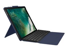 Logitech Slim Combo - Tastatur og folioveske - bakbelysning - Apple Smart connector - klassisk blå - for Apple 12.9-inch iPad Pro (1. generasjon, 2. generasjon)