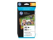 HP 303 Photo Value Pack - 2-pack - svart, farge (cyan, magenta, gul) - skriverpatron / papirsett (Z4B62EE)