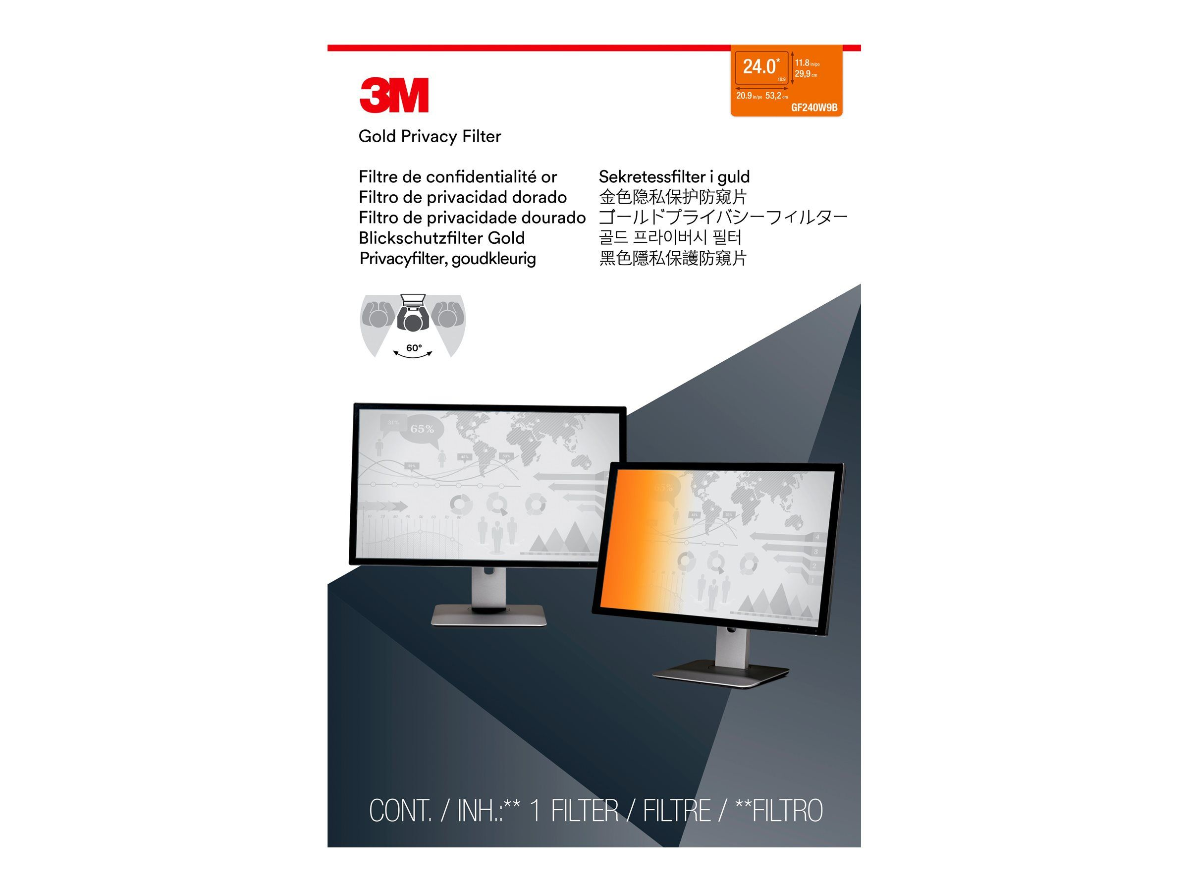 """3M personvernfilter i gull for 24"""" Widescreen Monitor - personvernfilter for skjerm - 24"""" (98044065716)"""