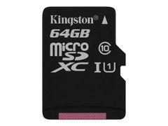 Kingston Canvas Select - Flashminnekort (microSDXC til SD-adapter inkludert) - 64 GB - UHS-I U1 / Class10 - microSDXC UHS-I