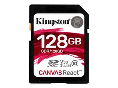 Kingston Canvas React - Flashminnekort - 128 GB - A1 / Video Class V30 / UHS-I U3 / Class10 - SDXC UHS-I