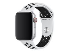 Apple 44mm Nike Sport Band - Klokkestropp - 140-210 mm - ren platina / svart - for Watch (42 mm, 44 mm)