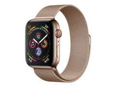 Apple Watch Series 4 (GPS + Cellular) - 44 mm - gyllen rustfritt stål - smartklokke med fint strikket løkke - stålnett - gull - båndstørrelse 150-200 mm - 16 GB - Wi-Fi, Bluetooth - 4G - 47.9 g