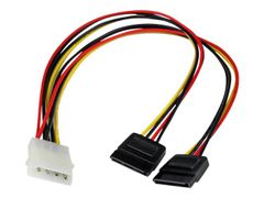 StarTech 12in LP4 to 2x SATA Power Y Cable Adapter - Strømadapter - 4-pin intern strøm (hann) til SATA-strøm (hunn)
