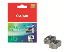 Canon BCI-16 - 2-pack - gul, cyan, magenta - original - blekkbeholder - for i90; PIXMA iP90, iP90v, mini220; SELPHY CP500, DS700, DS810