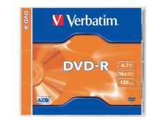 VERBATIM 5 x DVD-R - 4.7 GB 16x - matt sølv - CD-eske