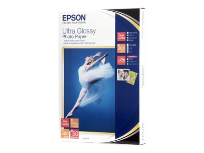 Epson Ultra Glossy Photo Paper - Blank - 100 x 150 mm 50 ark fotopapir - for EcoTank ET-2710, 2711, 2720, 2726, 2756, 4700; Expression Home HD XP-15000 (C13S041943)