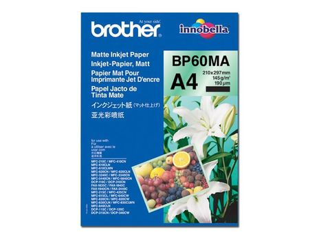 Brother BP 60MA Matte Inkjet Paper - Matt - A4 (210 x 297 mm) - 145 g/m² - 25 ark papir - for Brother DCP-J577, J772, J774, J973, J988, T310, MFC-J6583,  J6983, J6997, J6999, J738, J893 (BP60MA)