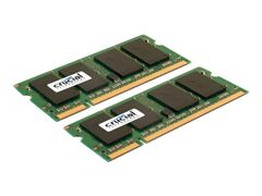 Crucial DDR2 - 2 GB: 2 x 1 GB - SO DIMM 200-pin - 667 MHz / PC2-5300 - CL5 - 1.8 V - ikke-bufret - ikke-ECC