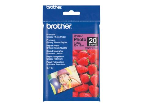 Brother BP 61GLP Premium Glossy Photo Paper - Blank - 9 mille - 102 x 152 mm - 190 g/m² - 20 ark fotopapir - for Brother DCP-J140, MFC-265, J270, J280, J410, J425, J430, J435, J5910, J625, J630, J835 (BP61GLP)