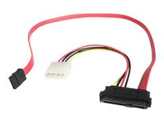 StarTech 18in SAS 29 Pin to SATA Cable with LP4 Power - SATA/ SAS-kabel - 4-pin intern strøm, 29-pins intern SAS (SFF-8482) til SATA (R) - 46 cm - rød - for P/N: DRW150SASBK