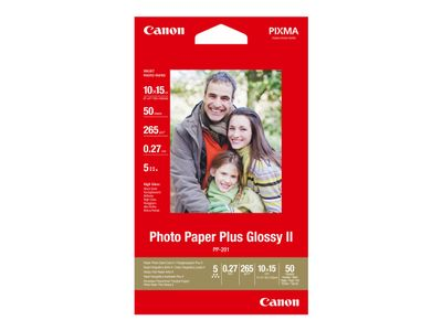 Canon Photo Paper Plus Glossy II PP-201 - Blank - 100 x 150 mm - 260 g/m² - 50 ark fotopapir - for PIXMA iP2600, iP2700, iP3500, iX7000, MG2555, MG8250, mini320, MP520, MX7600, MX850 (2311B003)