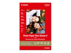 Canon Photo Paper Plus Glossy II PP-201 - Blank - A4 (210 x 297 mm) - 275 g/m² - 20 ark fotopapir - for PIXMA iP100, iP2600, iP2700, iX7000, MG2555, MG8250, MX7600, MX850, PRO-1, PRO-10, 100
