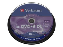 VERBATIM 10 x DVD+R DL - 8.5 GB 8x - matt sølv - spindel