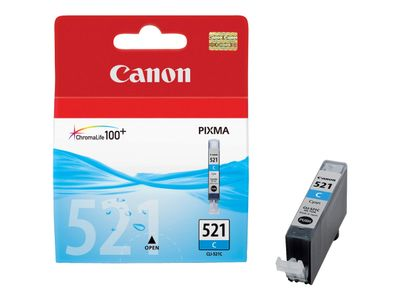 Canon CLI-521C - 9 ml - cyan - original - blekkbeholder - for PIXMA iP3600, iP4700, MP540, MP550, MP560, MP620, MP630, MP640, MP980, MP990, MX860, MX870 (2934B001)