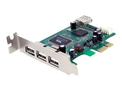 StarTech 4 Port PCI Express Low Profile High Speed USB Card - USB-adapter - PCIe lav profil - USB, USB 2.0 - 4 porter