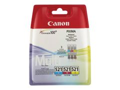 Canon CLI-521 Multipack - 3-pack - 9 ml - gul, cyan, magenta - original - blekkbeholder - for PIXMA iP3600, iP4700, MP540, MP550, MP560, MP620, MP630, MP640, MP980, MP990, MX860, MX870