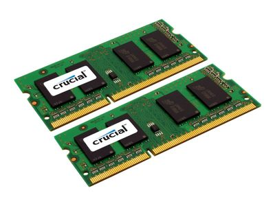 CRUCIAL DDR3L - 8 GB: 2 x 4 GB - SO DIMM 204-pin - 1600 MHz / PC3-12800 - CL11 - 1.35 V - ikke-bufret - ikke-ECC (CT2KIT51264BF160B)