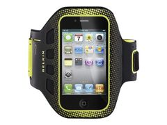 Belkin EaseFit Sport - Armpakke for mobiltelefon - svart, matt olivenfarge - for Apple iPhone 4, 4S
