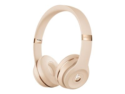 Apple Beats Solo3 - Hodetelefoner med mikrofon - on-ear - Bluetooth - trådløs - lydisolerende - satenggull - for 10.5-inch iPad Pro; 9.7-inch iPad; 9.7-inch iPad Pro; iPhone X, XR, XS, XS Max (MUH42ZM/A)