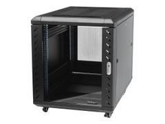 StarTech 12U AV Rack Cabinet - Network Rack with Glass Door - 19 inch Computer Cabinet for Server Room or Office (RK1236BKF) rack - 12U