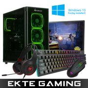 Multicom Noox i612C Gaming-PC-pakke med skjerm, tastatur, headset, mus, musematte og Windows 10 Home
