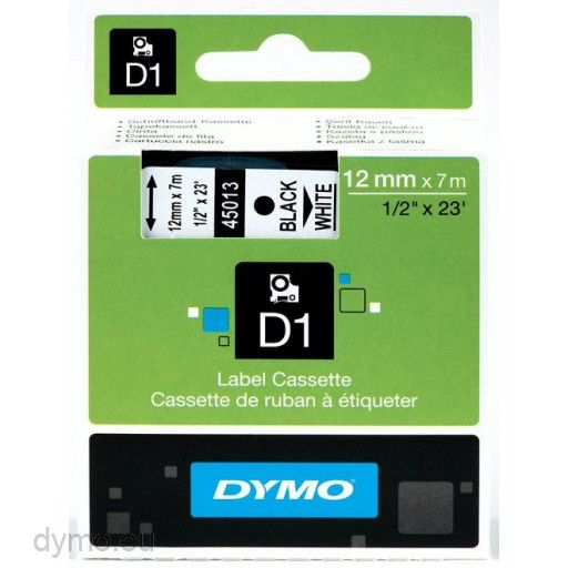 DYMO D1 12mm Tape bl† p† hvit | Expect Office Solutions AS