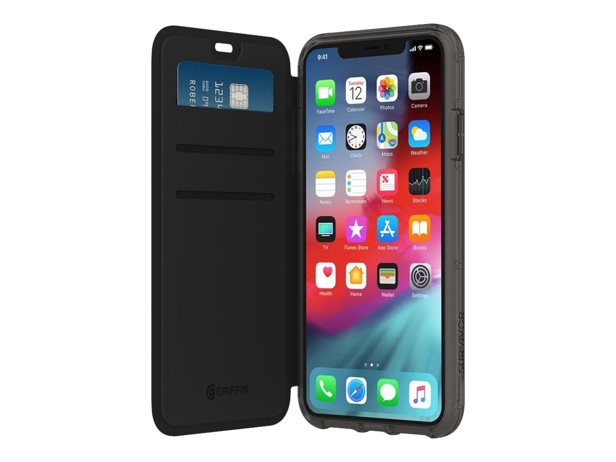 GRIFFIN Survivor Clear Wallet for iPhone Xs Max - Black/ Clear (GIP-018-BKC)