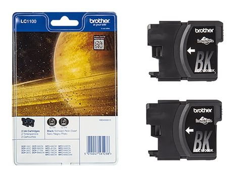 Brother LC1100BKBP2 - 2-pack - svart - original - blekkpatron