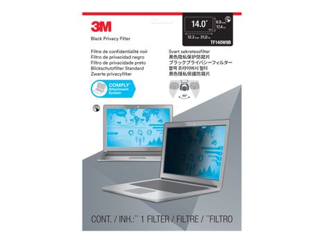 """3M Touch Privacy Filter TF140W9B for 14.0"""" Widescreen Laptop - Standard Fit with COMPLY Attachment System notebookpersonvernsfilter (7100210588)"""