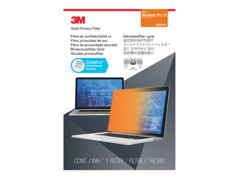 """3M personvernfilter i gull for Apple Macbook Pro 15"""" (2016 model or newer) with COMPLY Attachment System notebookpersonvernsfilter (7100207021)"""