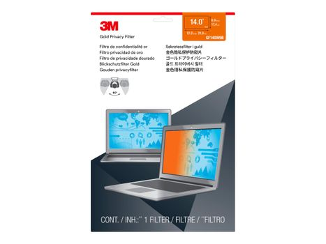 """3M personvernfilter i gull for 14"""" Laptops 16:9 with COMPLY - notebookpersonvernsfilter (GF140W9B)"""
