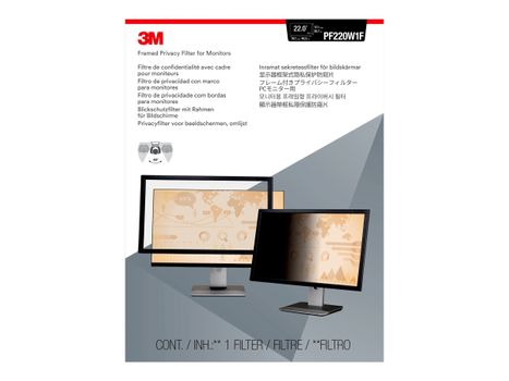 """3M personvernfilter med ramme for 22"""" Monitors 16:10 - personvernfilter for skjerm - 22"""" bredde (PF220W1F)"""