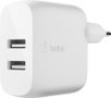 BELKIN Dual USB-A Wall Charger 24W + Lightning to USB-A Cable (MFi) /WCD001vf1MWH