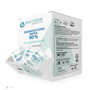 Bactitox Single Wipes overfladedesinfektion 80% (Display/ 100 (1105)