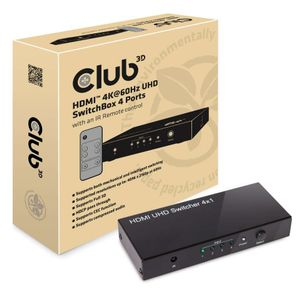 CLUB 3D 4-Ports Uhd 4K 60Hz HDMI Switch W/ Remote (CSV-1370)