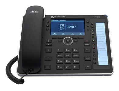 AUDIOCODES SFB 445HD IP Phone PoE GbE black with integrated BT and WiFi and an external power supply black (UC445HDEPSG-BW)